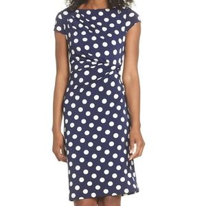 New Eliza J Navy Blue Polka Dot Sheath Dress